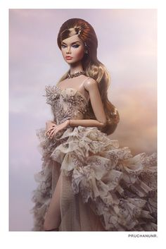 Gown by KawinTan Barbie Gowns, Barbie Dress, Barbie Clothes, Doll Dresses, Fashion Royalty Dolls, Fashion Dolls, Barbie Mode, Glamour Dolls, B Fashion