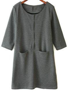 Grey Long Sleeve Pockets Buttons Dress 25.50
