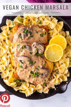 Vegan Chicken Marsala - A classic dish veganized! Whole30 Recipes Lunch, Vegan Dinner Recipes, Veggie Recipes, Vegetarian Recipes, Breaded Chicken Cutlets, Marsala Recipe, Vegan Comfort Food, Vegan Food, How To Cook Mushrooms