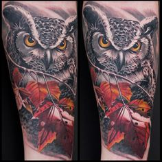 black and grey, color, owl tattoo by Remis, remistattoo, realism, realistic tattoo, tattoo ideas, inspiration, sleeve, arm, half sleeve, full sleeve, owl tattoo, nature tattoo