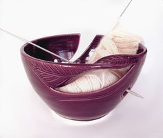 POTTERY Yarn Bowl Knitting Bowl Eggplant Purple by blueroompottery, $32.00