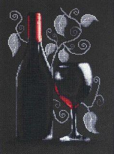 B2220 Botella de vino rojo €12.05  Kit punto de cruz Marca: Luca-S dim.20*29cm cul.15