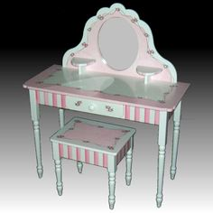 Large hand painted Child's Vanity