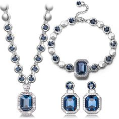 Qianse *Royal Style* Necklace Bracelet Earrings Fashion Jewelry Set Made with Navy SWAROVSKI Crystal *** You can get more details by clicking on the image. (This is an affiliate link and I receive a commission for the sales)