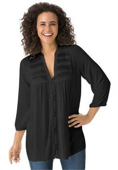 Plus Size Pleated bib tunic top with 3/4 bishop sleeves