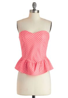 Bubblegum Glamour Top - Short, Pink, White, Polka Dots, Girls Night Out, Pinup, Vintage Inspired, 50s, Peplum, Strapless, Sweetheart