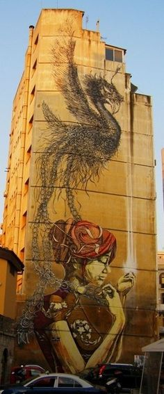 Mural in Thessaloniki Greece by DALEast and Faith 47