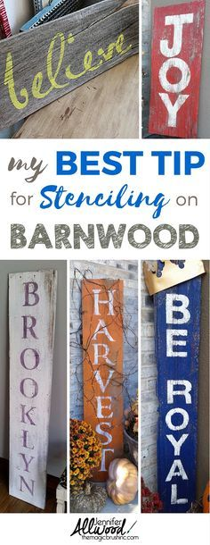 My Best Tip For Stenciling On Barnwood. The most effective method to Stencil Letters On Wood And Make Your Own Farmhouse Decor. Painting Tips, Design Advice, Decor Ideas And More Stencil Art At Stencil Letters On Wood, Word Stencils, Stencil Wood, Painted Letters, Stencil Diy, Stencil Painting, Painted Signs, Painting Tips, Stenciling
