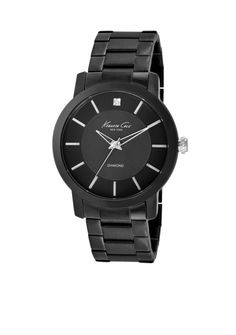 Kenneth Cole Men's Stainless Steel Black Watch With Diamond Marke