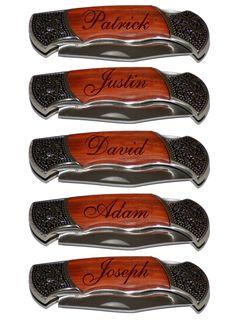 5 Personalized Groomsmen Gifts - Custom Engraved Wood Handle Pocket Knife Hunting Knives - Groomsman Best Man Ring Bearer Gift. $105.00, via Etsy.