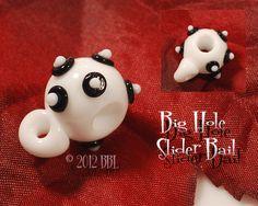 $9 each  Big Hole Slider Glass Bail - Handmade Glass by Bastille Bleu