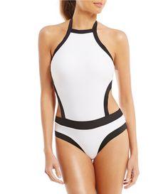 4034173746814 Gianni Bini High Neck Colorblock One Piece #Dillards Women's One Piece  Swimsuits, Gianni Bini