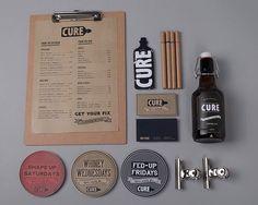 Cure Bar & Resto by Bea de Jesus, via Behance Restaurant Menu Design, Restaurant Branding, Restaurant Ideas, Burger Bar, Brand Identity Design, Branding Design, Corporate Branding, Logo Branding, Visual Identity