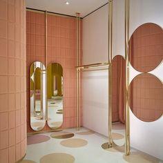 Gorgeous retail space for @redvalentino @indiamahdavi #retaildesign #rosegold #interiors