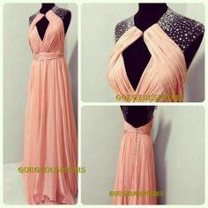Long Blush Pink Backless Prom Dress, Straps Floor-length Long Bead Prom Dresses Graduation Dress Formal Dress Homecoming Dress 2014 on Etsy, $129.99