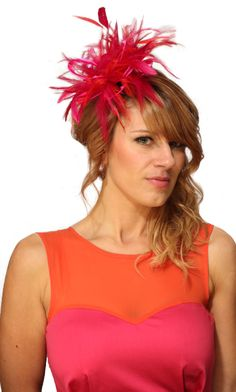 sexy red hatters | Hot Pink & Red Feather Wedding Fascinator Hat : Maighread Stuart ...