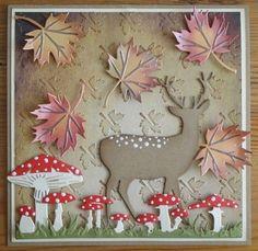 kaart-10 - Groot Halloween Cards, Fall Halloween, Paper Art, Paper Crafts, Cricut Cards, 3d Cards, Die Cut Cards, Marianne Design, Fall Cards