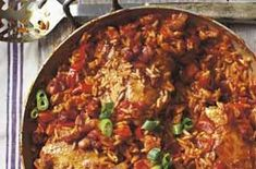 Baked chicken jambalaya A recipe revived from an 1984 issue of Woman's Weekly. This chicken can be cooked in a casserole or paella pan. A great tasty and spicy one-pot meal for the whole family Chicken Jambalaya, Jambalaya Recipe, My Recipes, Cooking Recipes, Healthy Recipes, Favorite Recipes, Southern Recipes, Healthy Meals, Healthy Food