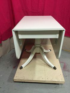 Greystone Fine Furniture - Shabby chic white Duncan Phyfe drop leaf table with leaf $285