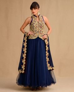 Midnight Blue Anarkali Suit with Embroidered Jacket - Dat skirt