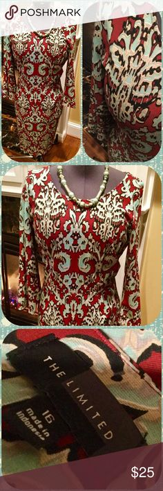 Paisley swirl sheath dress in red and light blue Size 16 dress by The Limited in red and light blue paisley print.  Long sleeves with round neck.  Never worn.  Hits at or slightly above knee. The Limited Dresses Midi