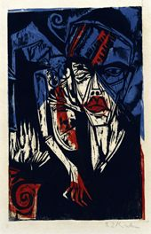 Ernst Ludwig Kirchner, fights (torments of love), 1915 Woodcut in Black, Red and Blue, 33.6 x 21.7 cm Brücke-Museum Berlin, Karl and Emy Schmidt-Rottluff Foundation