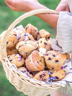 Parhaat mustikkamuffinssit ihan valehtelematta. Tällä ohjeella sinunkin muffinsseista tulee kuohkeita, meheviä ja isoja! Ohje on helppo! Food Coloring, Sweet Tooth, Stuffed Mushrooms, Food And Drink, Basket, Cupcakes, Cookies, Baking, Vegetables