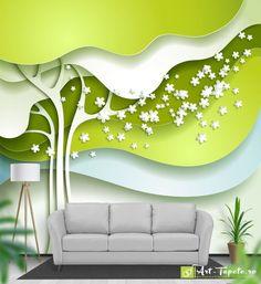 Fototapet cu efect 3D - Copac verde în volumul