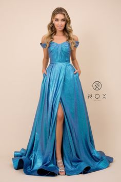 Long Off the Shoulder Metallic Glitter Dress by Nox Anabel Off The Shoulder, Shoulder Dress, Glitter Dress, Formal Gowns, Homecoming Dresses, Evening Gowns, Ball Gowns, Metallic Blue, Cap Sleeves