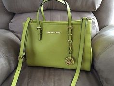 MICHAEL-KORS-Jet-Set-Travel-Medium-Tote-Bag-Satchel-Leather-Handbag-Apple-Green
