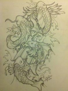 drawings of koi fish | koi fish tattoo drawing by abnormega art traditional art drawings ... *~<3*Jo*<3~*