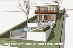 piscina casa em terreno declive