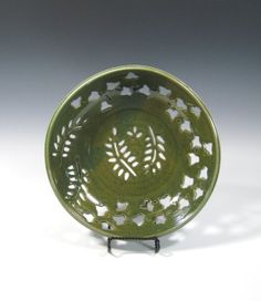 Fruit Bowl  Colander  Hand Carved  Stoneware by GlyntPottery, $75.00