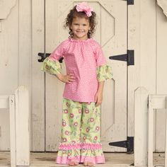 Lolly Wolly Doodle Green Paisley Pink Leaf Ruffle Pant Set 9/13