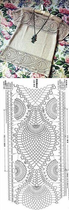 """(ideas de Internet) / ganchillo / la ropa del gancho de la… [ """" (Ideas from the Internet) & Crochet & Women& clothes hook."""", """"Great idea for Scarf pattern,"""" ] # # # # # # Filet Crochet, T-shirt Au Crochet, Pull Crochet, Mode Crochet, Crochet Fabric, Crochet Motifs, Crochet Shirt, Crochet Diagram, Crochet Woman"""