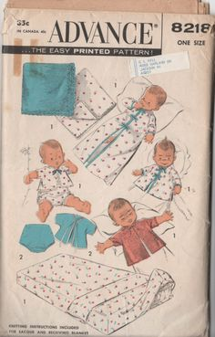 Advance 8218 dated 1950s  Infant Layette  Entire Layette, complete with contour sheets and receiving blanket-can be made of all one fabric, or separate fabrics. Lined or unlined sacque, one-piece panties, plastic lined, closes each side. Raglan sleeve robe in two lengths. Sheets with boxed corners fitting mattress smoothly. Knitting Instructions included for sacque and blanket.  Part cut and complete. Envelope is tatty,, black discoloration on back of envelope See photo FREE SHIPPING OFFER…