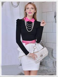 Morpheus Boutique  - Black Pink Collar Long Sleeve Top