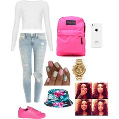 The Pinkprint by jalex9993 on Polyvore featuring polyvore, fashion, style, Topshop, Frame Denim, adidas, JanSport, Nixon and Reason