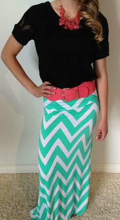 Sea Breeze Overlay Blouse is new and perfect paired with our chevron maxi skirt!