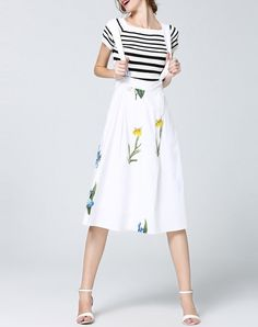 #AdoreWe wei guo yue White Casual Floral Short Sleeve Crew Neck Overall Midi Dress - AdoreWe.com