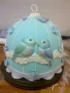Quick birdcage cake using our Love Bird mould.  http://www.karendaviescakes.co.uk/Moulds/?p=211_Birds_Mould