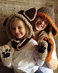 Watch the Foxy Lady Sets Crochet Pattern review video! Original Designs By: Carol Ballard Skill Level: Easy Sizes: To fit average size Toddler (Small), Child (Medium) and Adult (Large). Instructions g