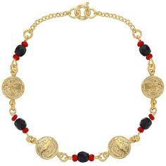 "18K Gold Plated St Benedict Medal Bracelet Simulated Azabache Evil Eye 7"""