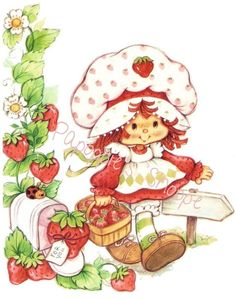 Fabric Block Strawberry Shortcake Basket of Strawberries Ladybug Mailbox Path in…