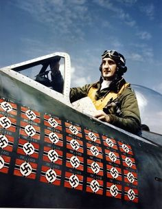 Portrait of American Lieutenant Colonel Francis S. Gabreski as he sits in the cockpit of his Republic P-47 Thunderbolt fighter plane. Gabrewski was the top American fighter ace with 28 kills and later became an ace in the Korean War.