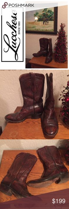 🌂Lucchese Calfskin Boots. Men's sz 8/ Women's 10 🌂Lucchese Calfskin Boots. Men's sz 8D/Women's 10.  Handmade in SAN ANTONIO these boots are awesome. Excellent condition. Minor scuffing. Lucchese Shoes Heeled Boots