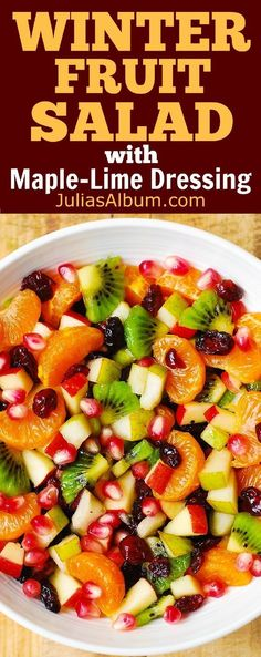 A great variation of fruit salad. Thanksgiving, Christmas, Holiday Salad: Winter Fruit Salad with Maple-Lime Dressing - healthy, gluten free recipe. Yummy Recipes, Cooking Recipes, Yummy Food, Healthy Recipes, Recipes Dinner, Christmas Dinner Recipes Gluten Free, Diabetic Recipes, Gluten Free Potluck, Recipies