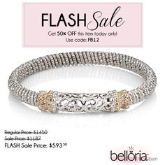 #FlashSaleFriday! Get 50% OFF this #Alwand #Vahan Sterling Silver & 14K Gold Bracelet - that's right 50% OFF today when you use code FB12    #Belloria #beautifulbaubles
