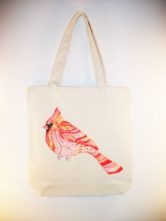 Lacy Cardinal -- (ARTIST OLA LIOLA) on 15x15 Canvas Tote with shoulder strap - other bag sizes available. $14.00, via Etsy.