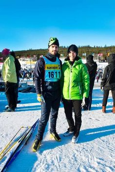 Prince Carl Philip of Sweden and Sofia Hellqvist during the StafettVasan relay ski race on 1 Mar 2013